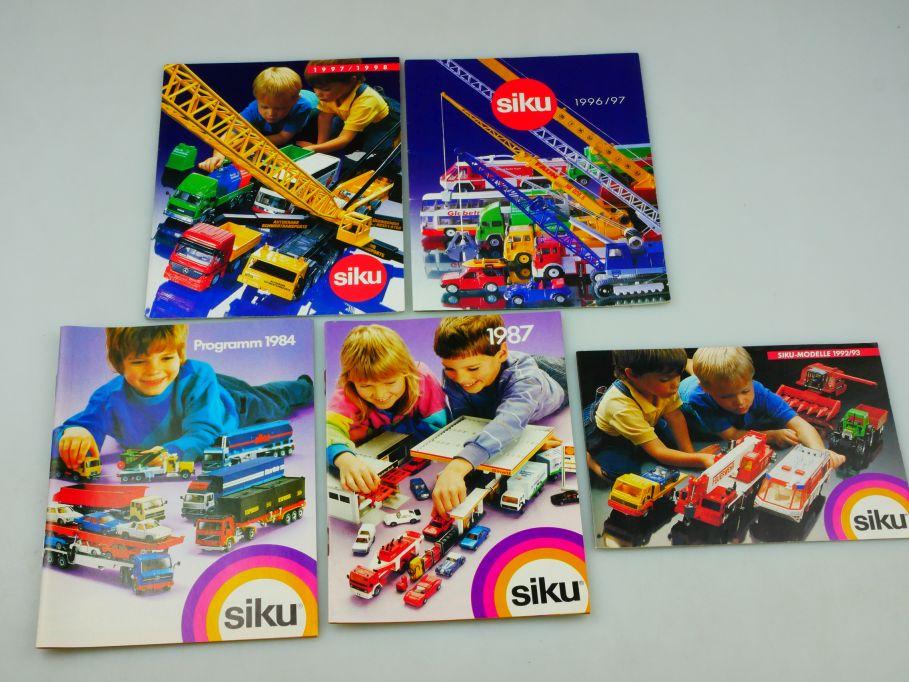 5x Siku Katalog 1984 1987 1992/93 1996/97 1997/1998 diecast toy catalog 110352