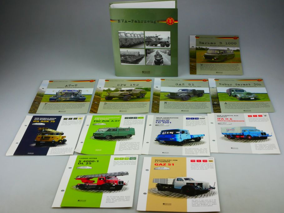 Atlas Verlag 11 Typen Blätter in NVA Fahrzeuge Sammelordner SPW GAZ IFA 110430
