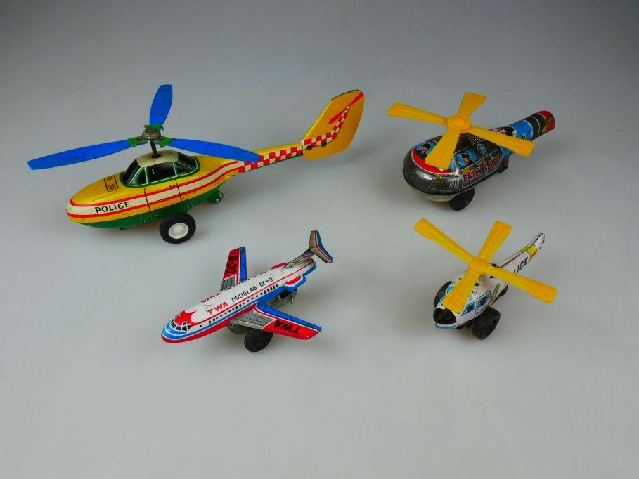 Blech Spielzeug TWA Police Daily Sports Hubschrauber Flugzeug Japan 110490