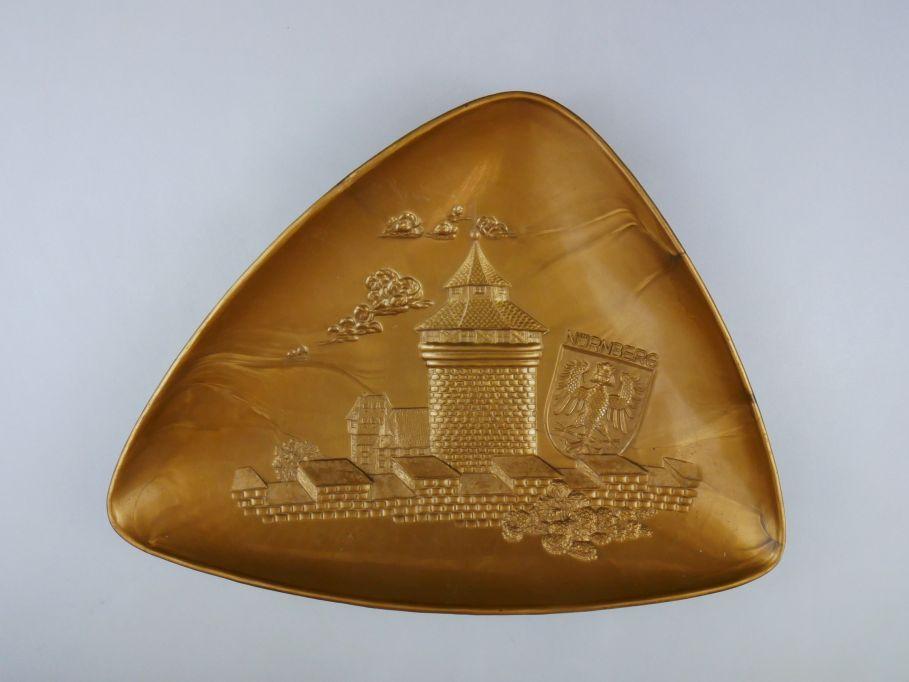 Heinerle Bamberg Nürnberg Schale Plastik Gold selten Rarität 28cm x 21cm 110220