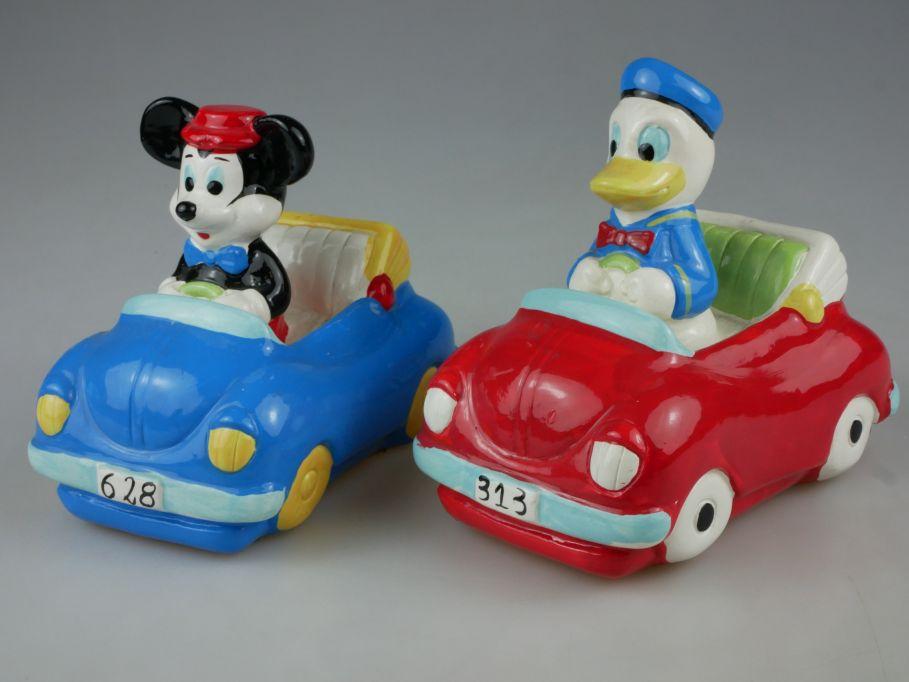2x Spardose Keramik Volkswagen VW Käfer mit Donald Duck Mickey Mouse 110495