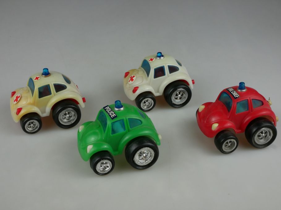 4x Hong Kong Volkswagen VW Käfer toy beetle Police Ambulance Fire Chief 110500