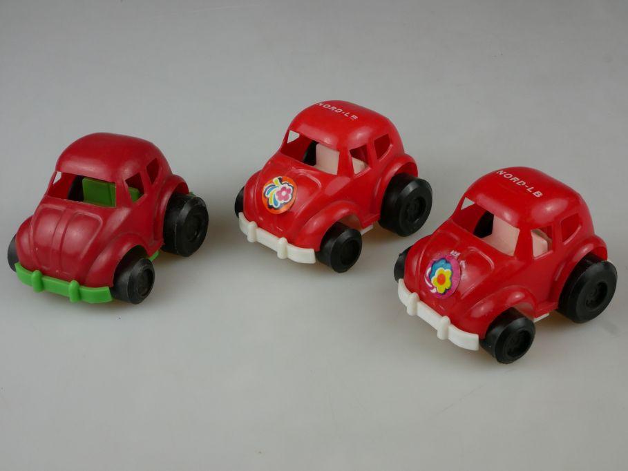 3x Plastik Volkswagen Nord LB VW Käfer toy beetle bug vintage plastic toy 110501