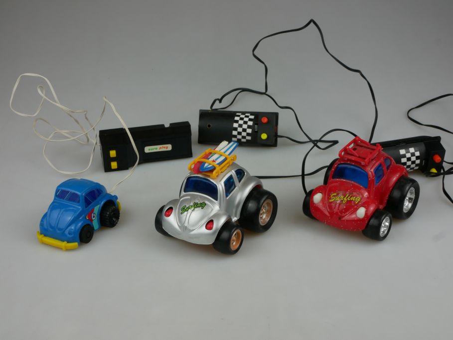 3x toy Volkswagen Käfer VW Beetle Hongkong cable steering Kabelsteuerung  110527