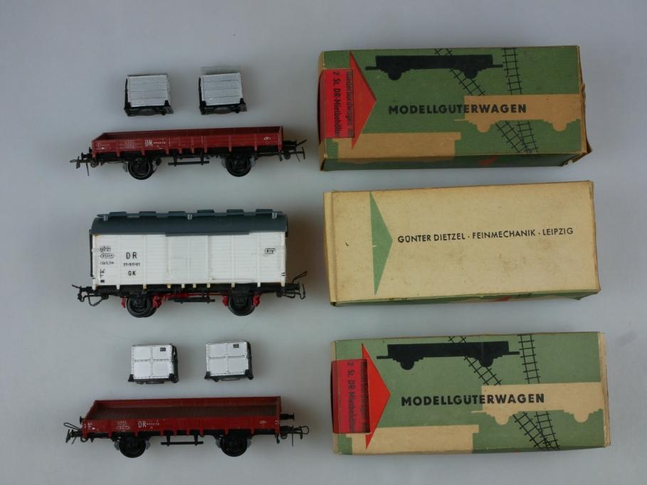 Dretzel Piko H0 DC Güterwagen 1x Krankenwagen 2x Niederbordwagen OVP 110543