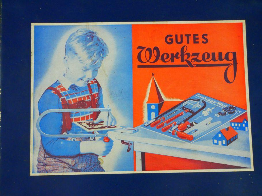 60er J. Gutes Werkzeug Kinder Laubsäge etc. Werkzeugkasten Box Antik 110608
