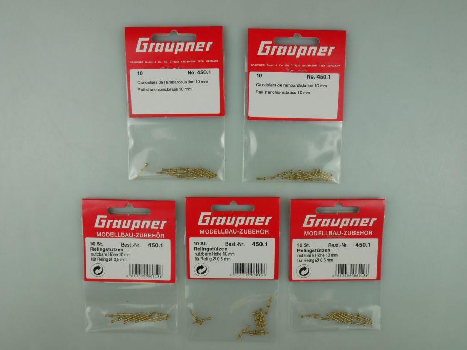 Graupner 5x Relingstützen 10mm No 450.1 Schiff Zubehör OVP kit 110644