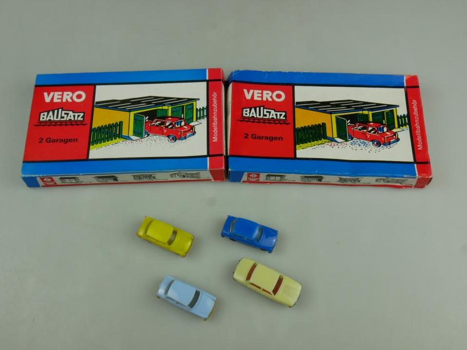 Vero Mamos Espewe H0 2x 3/412 Garagen mit 4 PWK blau gelb Autos OVP kit 110663