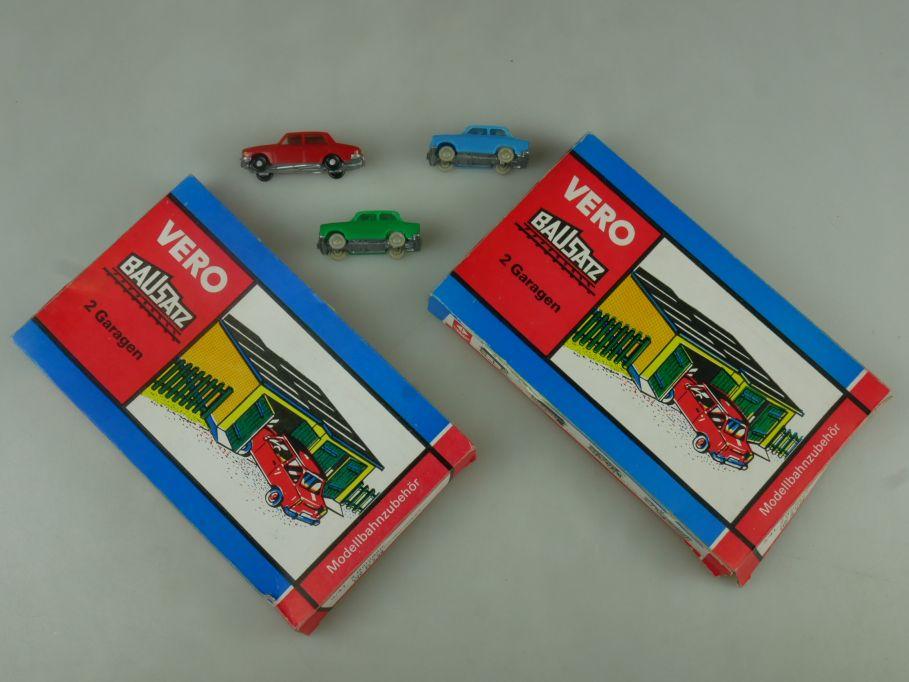 Vero / Mamos Konvolut 3/41 2x 2 Garagen (x3) 3x PKW rot blau grün OVP kit 110999