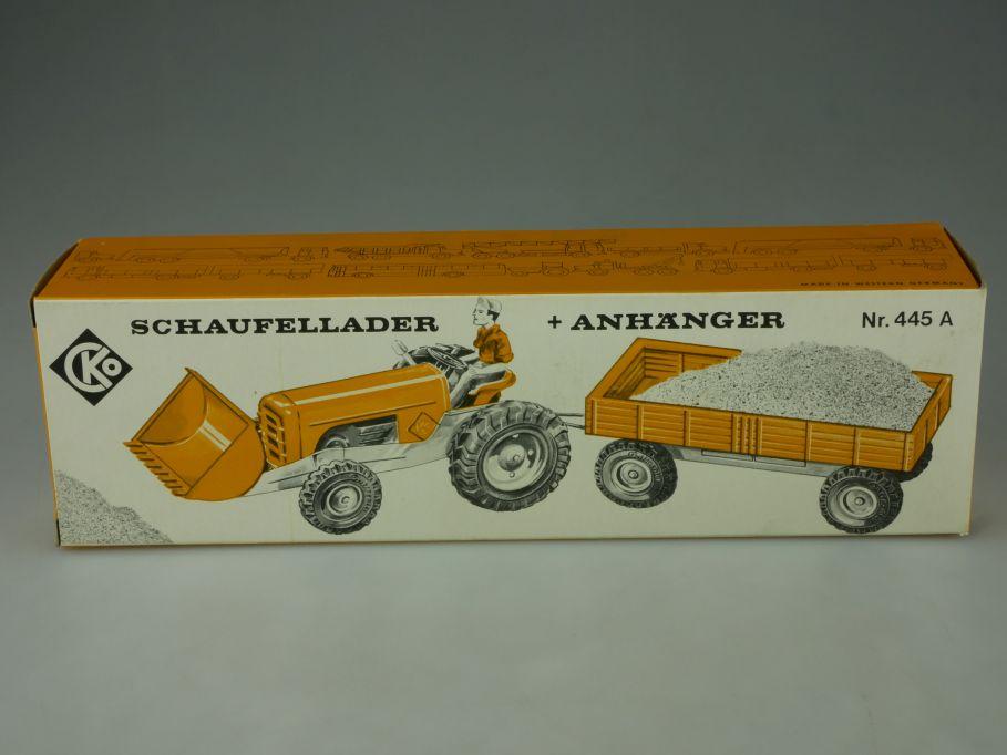 1969 CKO Kellermann 445A LEERE Original BOX Blech Schaufellader Anhänger 110821