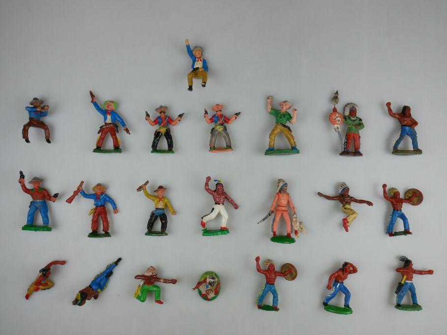 DDR Figuren Wild West Western 20 Cowboys Indianer 1 Kutscher Konvolut 111522