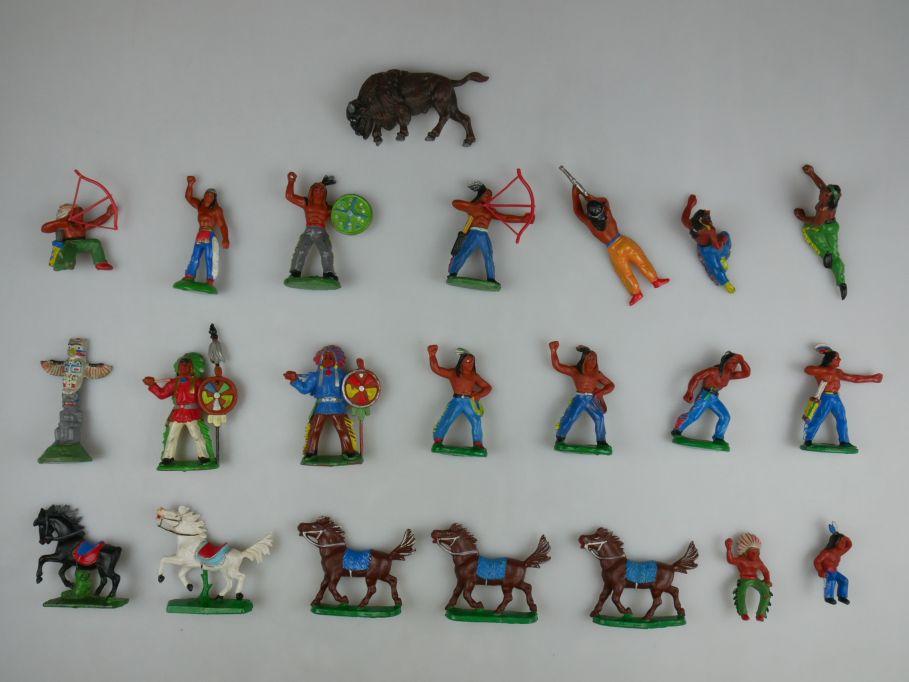 DDR Figuren Wild West Western 19 Indianer Pferde Büffel Marterpfahl Lot 111523