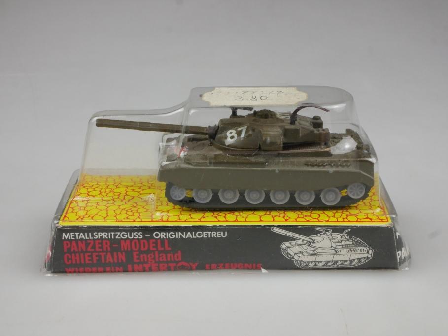 Intertoy 1:100 Metall GB Panzer Chieftain No 151 selten vintage Blister 111651