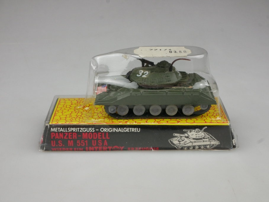 Intertoy 1:100 Metall US Panzer M 551 USA No 153 selten vintage Blister 111652