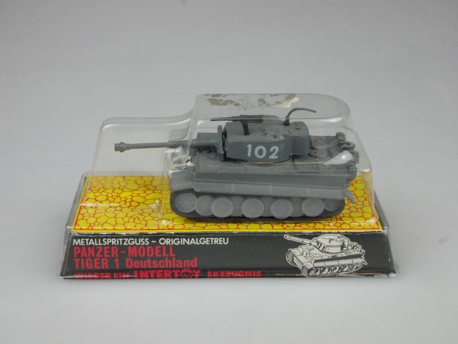 Intertoy 1:100 Metall Dt Panzer Tiger 1 No 150 selten vintage Blister 111657