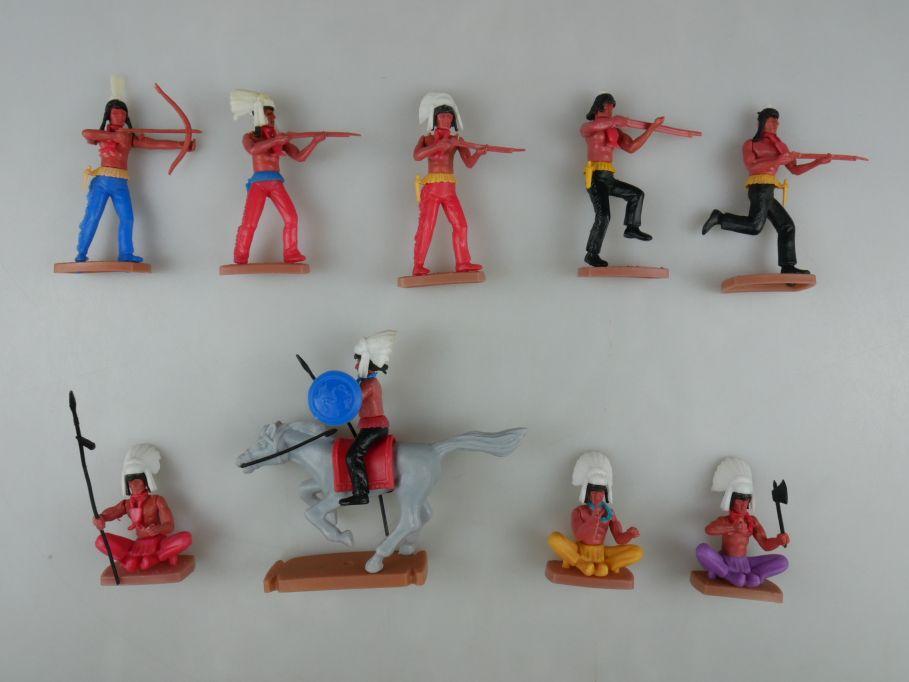 Plasty Indianer 5x stehen 3x sitzen 1x Reiter Billy Western Steckfiguren 111726