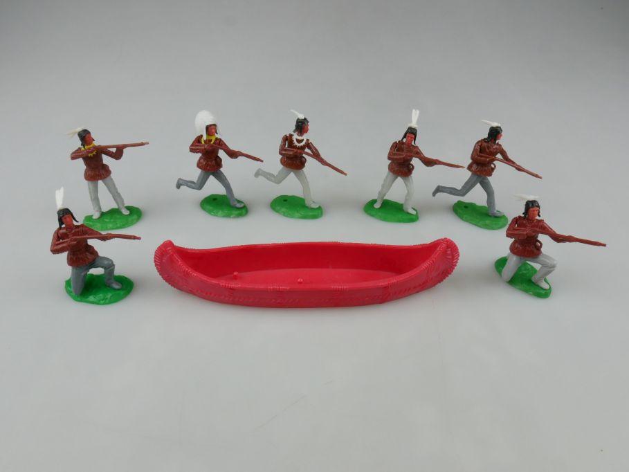 Elastolin Hausser Kanu rot + 6x Indianer stehend Steckfiguren 111734