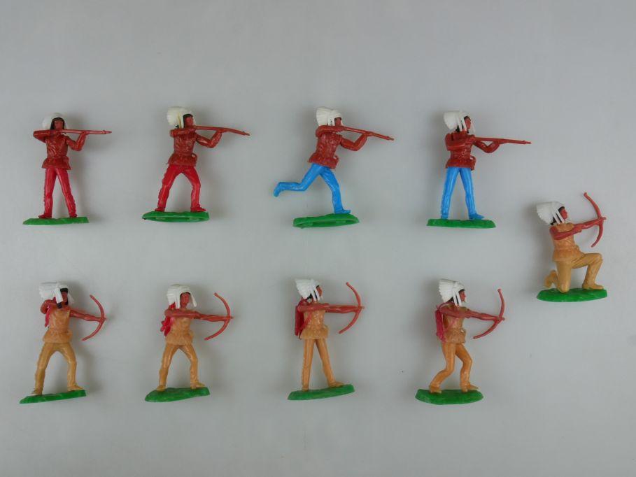 Elastolin Hausser Indianer 4x Gewehr 5x Bogen Steckfiguren 111736