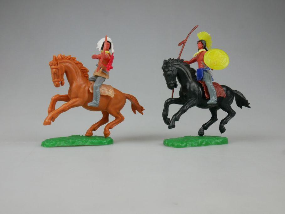 Elastolin Hausser Indianer 2x Reiter Pferd schwarz braun Steckfiguren 111737