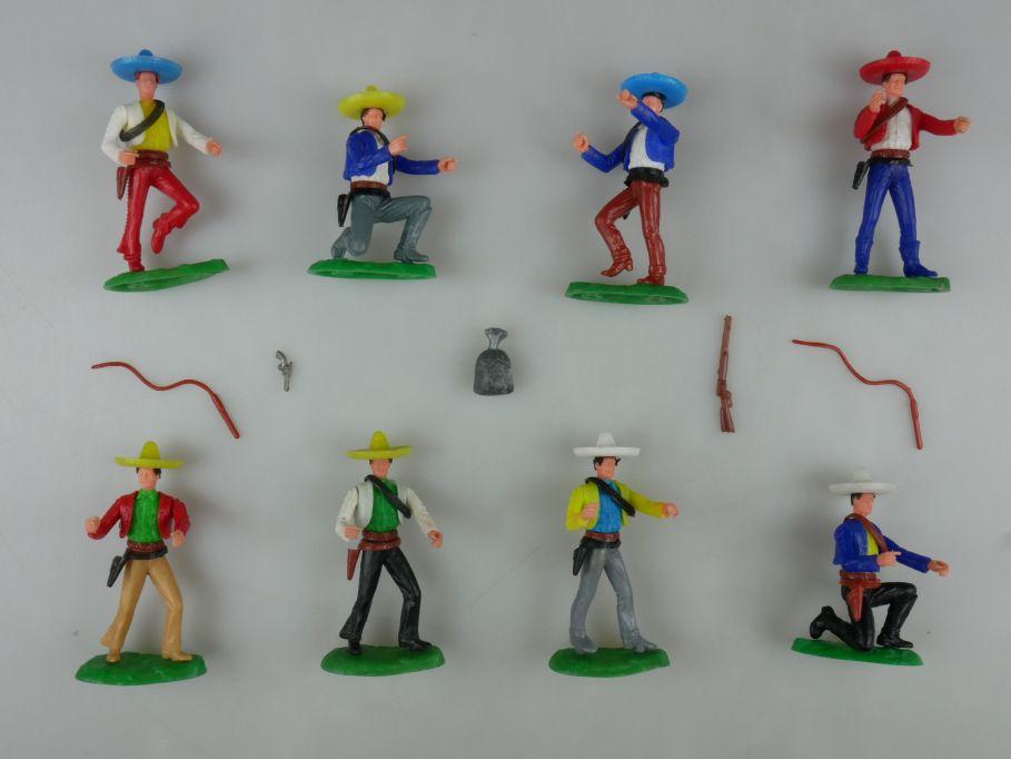 Elastolin 8x Mexikaner Original Oberteil Peitsche Geldsack Steckfiguren 111739