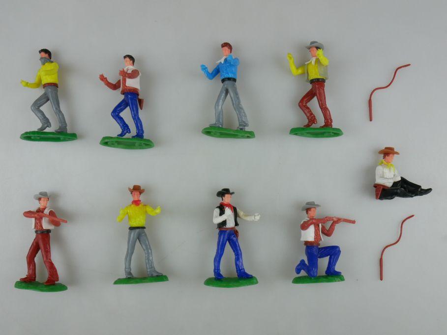 Elastolin 8x Cowboys 1x Bandit sitzend kniend Timpo Peitsche Steckfiguren 111741