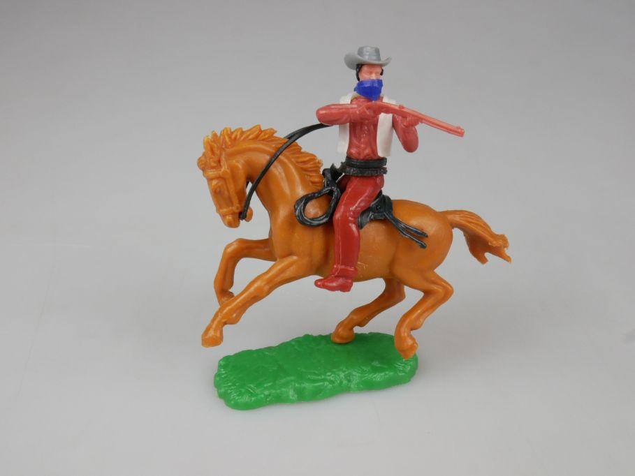 Elastolin Cowboy Bandit Reiter Pferd braun Steckfiguren 111747