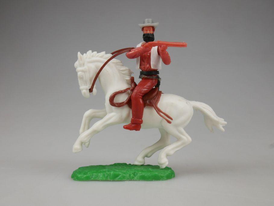 Elastolin Cowboy Bandit Reiter Pferd weiß Steckfiguren 111748