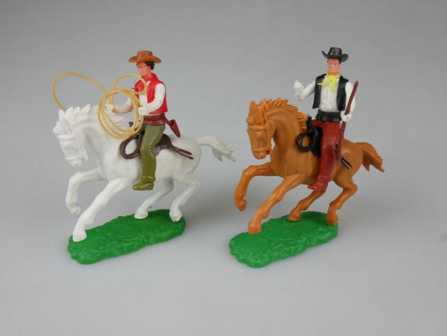 Elastolin 2x Cowboy Reiter Pferd weiß braun Steckfiguren 111750