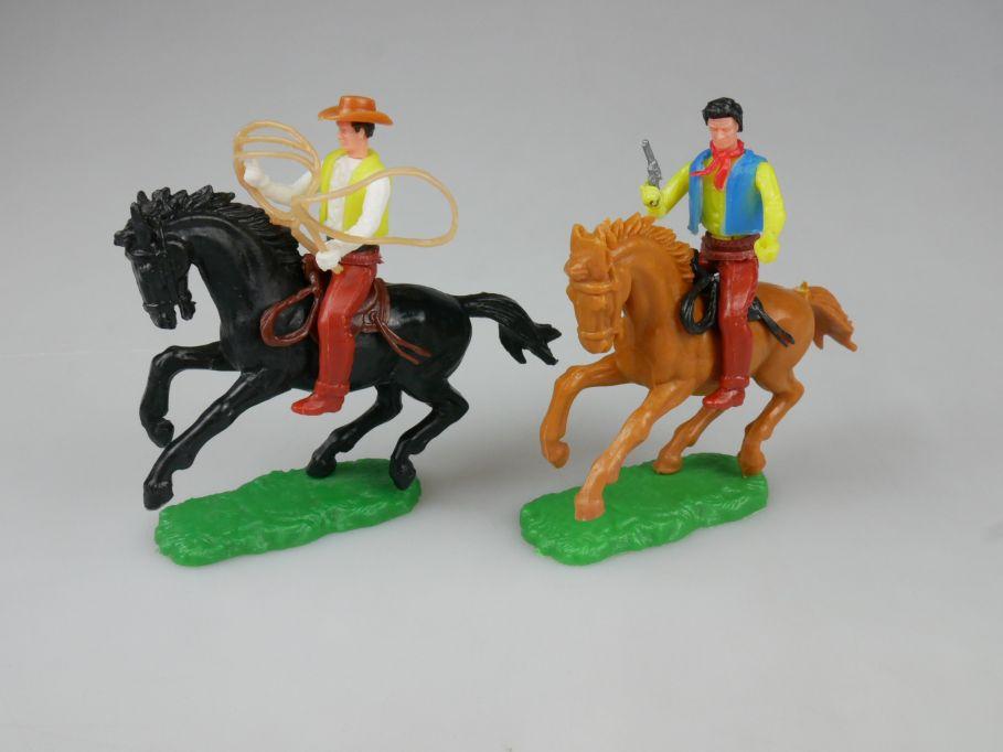 Elastolin 2x Cowboy Reiter Pferd schwarz braun Steckfiguren 111752