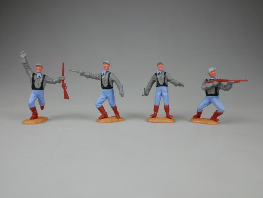 Timpo 4x Südstaaten Soldaten schwarze Hosenträger ohne Pfeil 2. Serie 111793