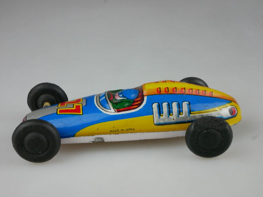 Vintage Japan Blechspielzeug Renner #27 friction racing car litho tin toy 112024
