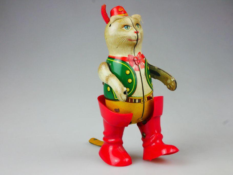 Köhler Blechspielzeug Uhrwerk gestiefelter Kater vintage german tin toy 112022