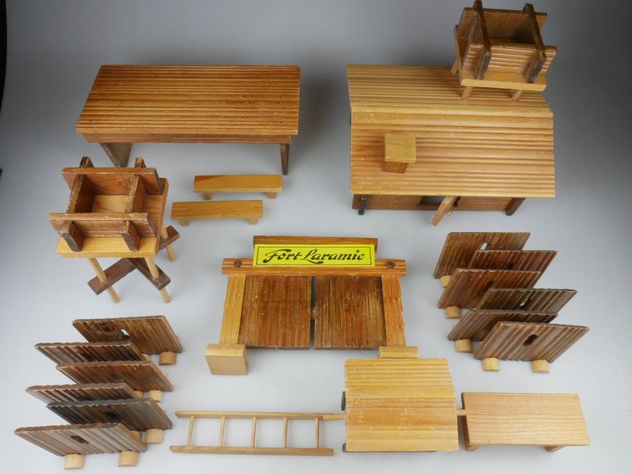 Holz Fort Laramie Wildwest 21x Teile viel Zubehör 111913