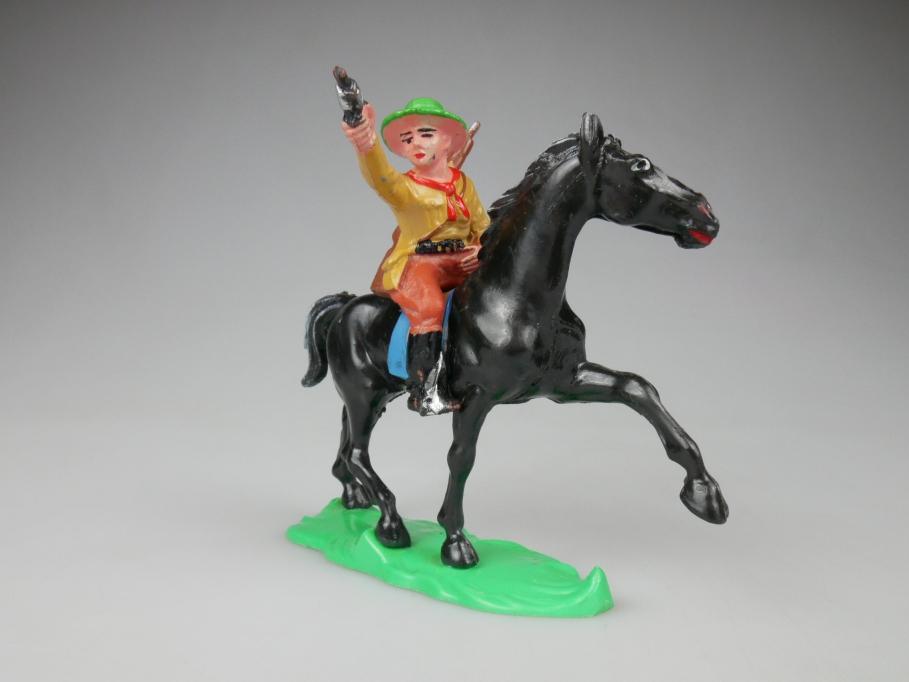 Lisanto DDR Reiter Pferd Schwarz mit Gummi Cowboy Figur 111870