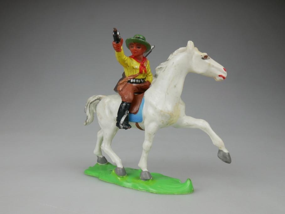Lisanto DDR Reiter Pferd weiß mit Gummi Cowboy Figur 111871