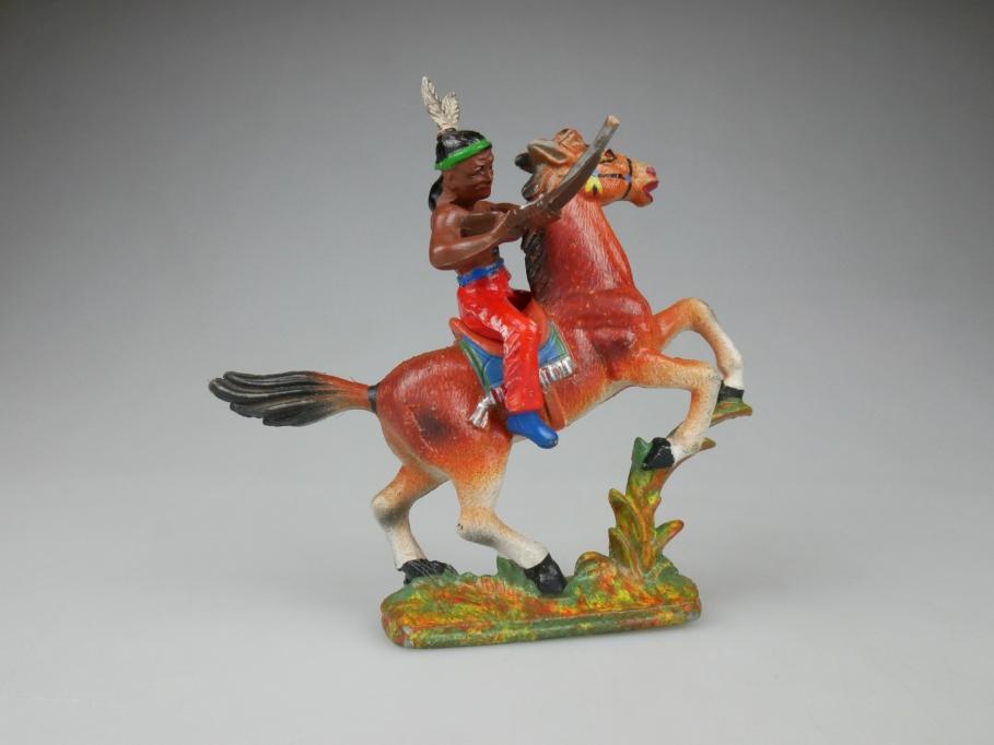 DDR Reiter Pferd Mehrfarbig + Indianer aus Gummi Figur 111873
