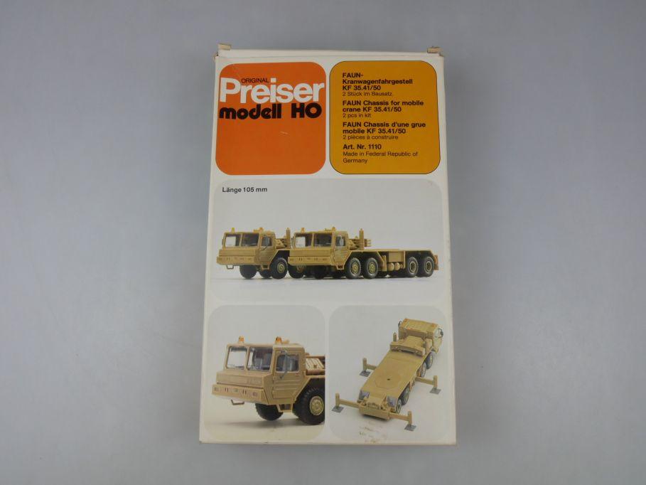 Preiser H0 FAUN-Kranwagenfahrgestell KF 35.41/50 2 Stk model kit w/ Box 111876