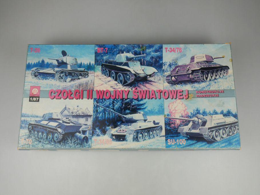Plastyk 1/87 T-26 T-70 BT-7 SU-100 T-34/76+85 Panzer tank kit w/ Box 112231