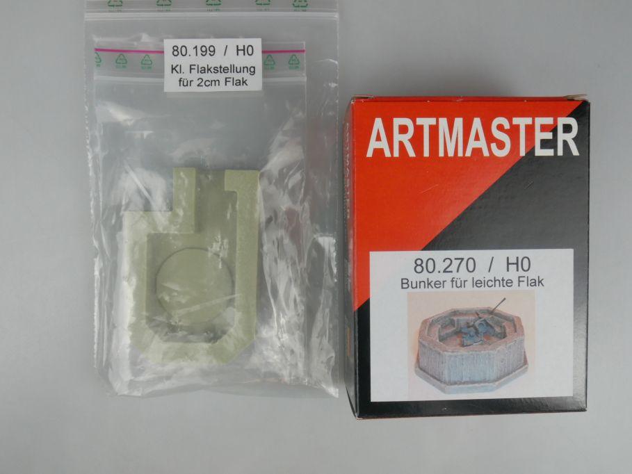 Trident 1/87 H0 Stellung und Bunker für kl. FLAK Resin kit w/ Box 112239