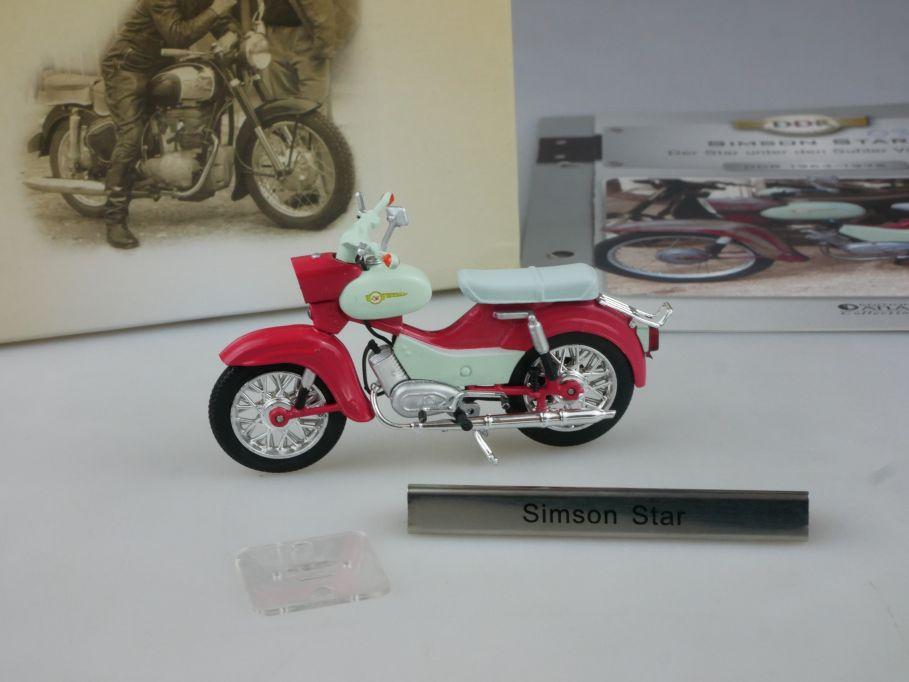 Atlas 1/24 Simson Star Motorrad motorcycle DDR Motorräder + Box 112278