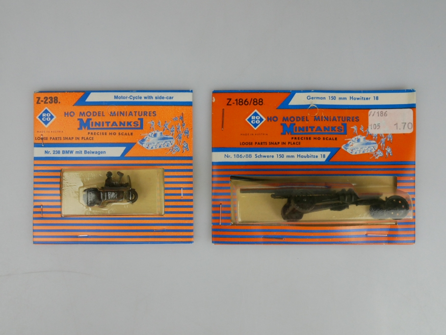 Roco 1/87 H0 Minitanks Wehrmacht Haubitze 15cm + BMW mit Beiwagen w/ Box 112334