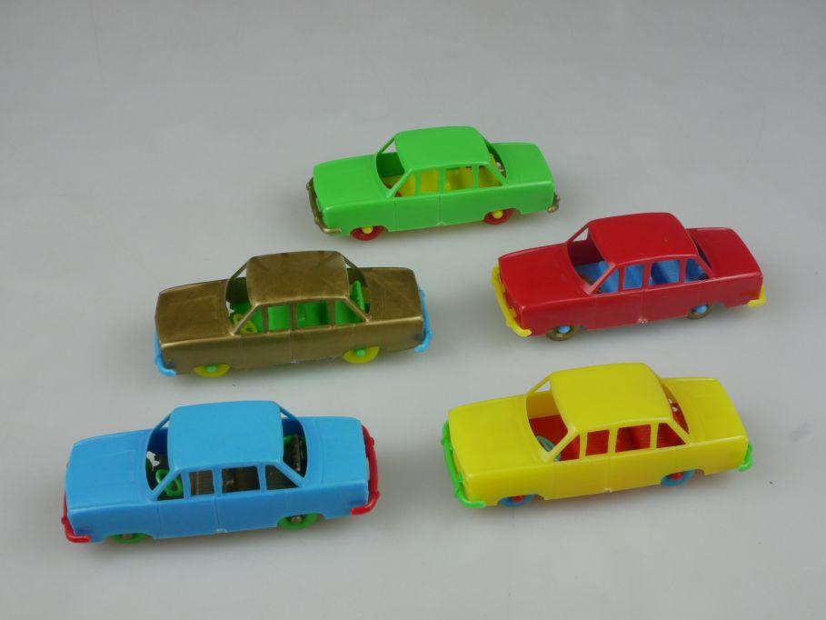 5x Plastik Auto Groschenauto PKW 6,5cm vintage german plastic toy car 112454