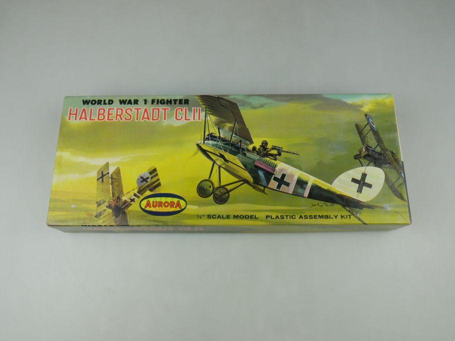 Aurora 1/48 Halberstadt CLII WWI Fighter 1959 plane model kit w/ Box 112637
