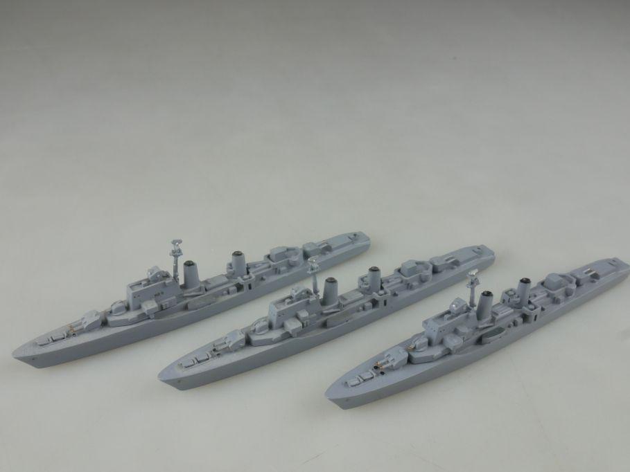 3x Wiking 1/1250 Halland Klasse Zerstörer Metall Schiff ship 112669