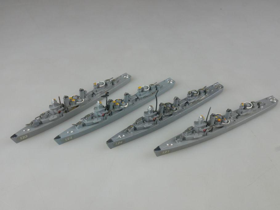 4x Wiking 529 1/1250 US Fletcher Klasse Zerstörer Metall Schiff ship 112670