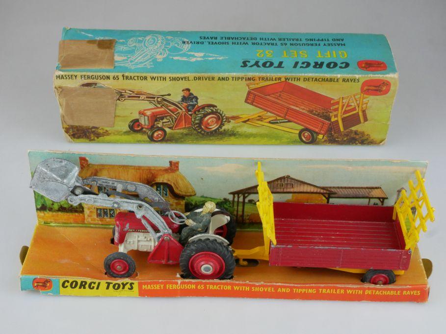 Corgi Toys Gift Set 32 Massey Ferguson 65 Tractor Shovel with trailer Box 112708