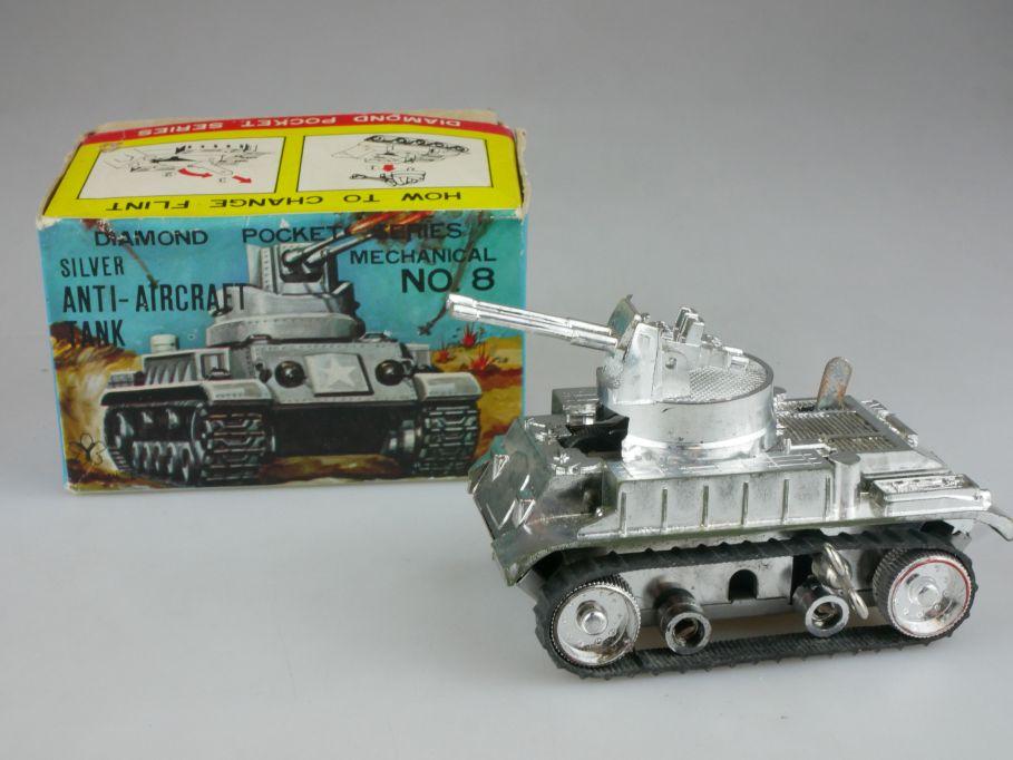 Yonezawa Japan clockwork toy Diamond Pocket Silver Anti Aircraft tank Box 112712