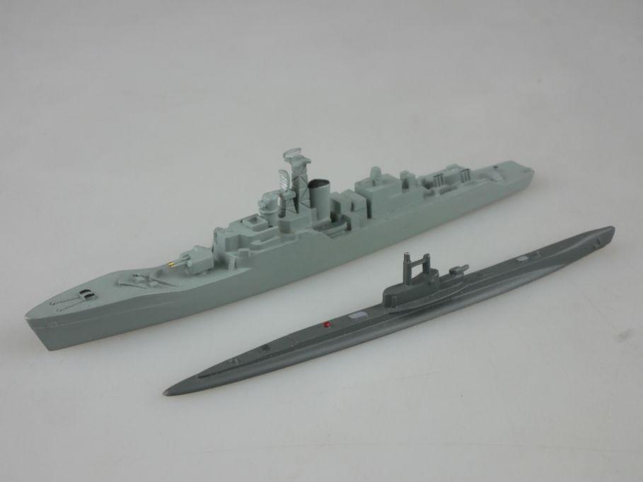 2x 1/1250 Wiking GB Royal Navy Fregatte Rothesay Thames Submarine metal 112753