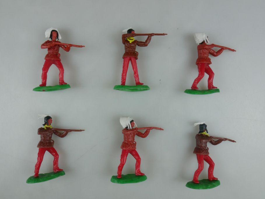 Elastolin Hausser Steckfiguren 6 Indianer Gewehrschützen 112747