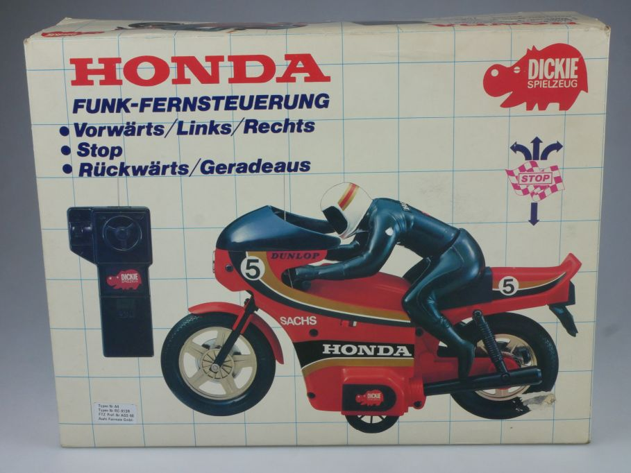 Dickie 8166 80er RC HONDA Motorrad remote control Funk-Fernsteuerung Box 112875